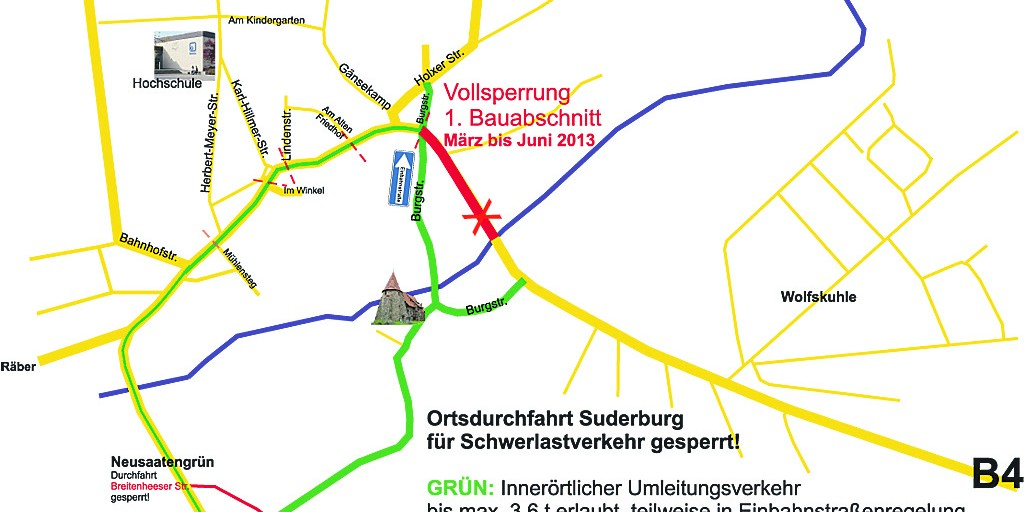 Umleitungsstrecken 2013 in Suderburg