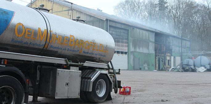 Großbrand in der Ölmühle in Bargfeld